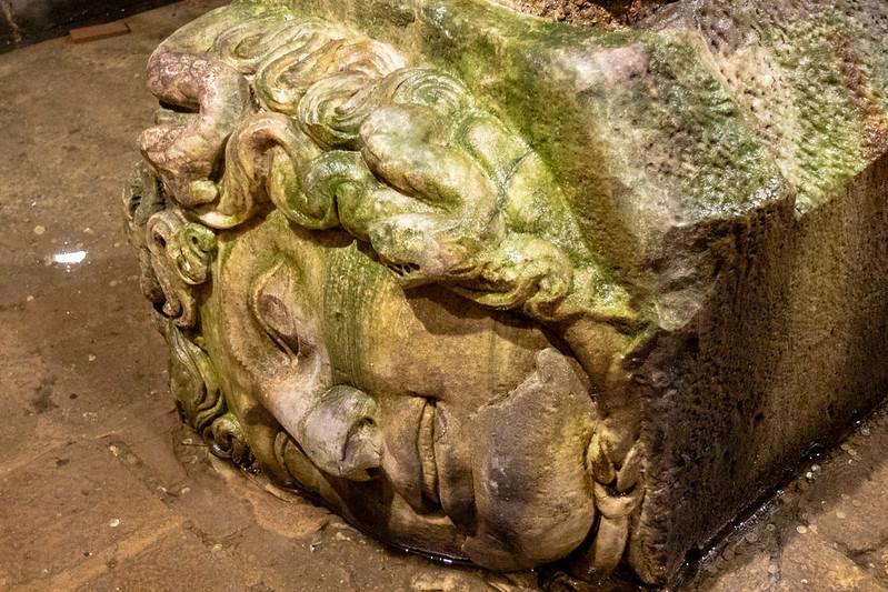 Ancient Medusa head inside of the Basilica Cistern in Istanbul, Turkey