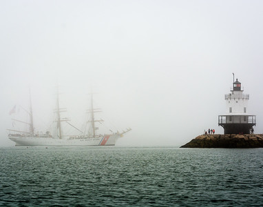 USCG Eagle at Spring Point Light in Fog
