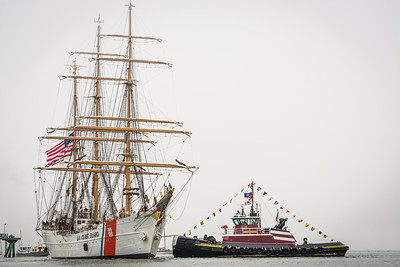 USCG Barque Eagle Pulled by McAllister Tugboat