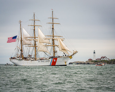 USCG Eagle at Portland Head Light