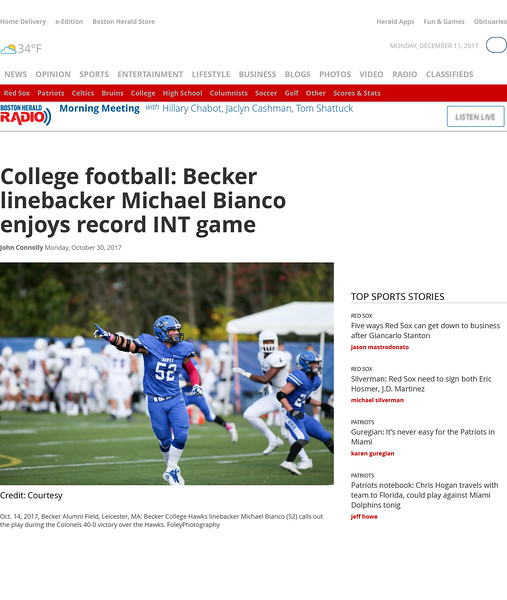College football: Becker linebacker Michael Bianco enjoys record INT game | Boston Herald