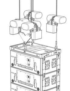 Loudspeaker rigging configuration. Created with SolidWorks and Adobe Illustrator.