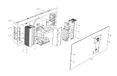 Exploded amplifier assembly. Created with SolidWorks and Adobe Illustrator.