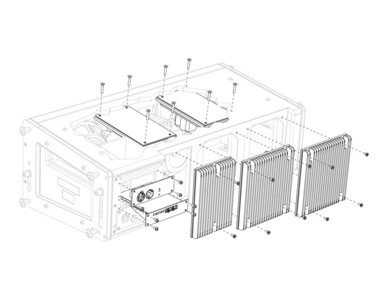 Exploded amplifier/user panel/heatsink assembly illustration. Created with SolidWorks and Adobe Illustrator.