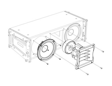 Exploded low driver/high horn assembly. Created with SolidWorks and Adobe Illustrator.