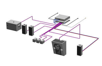 3D Signal Flow Wiring Diagram Illustration
