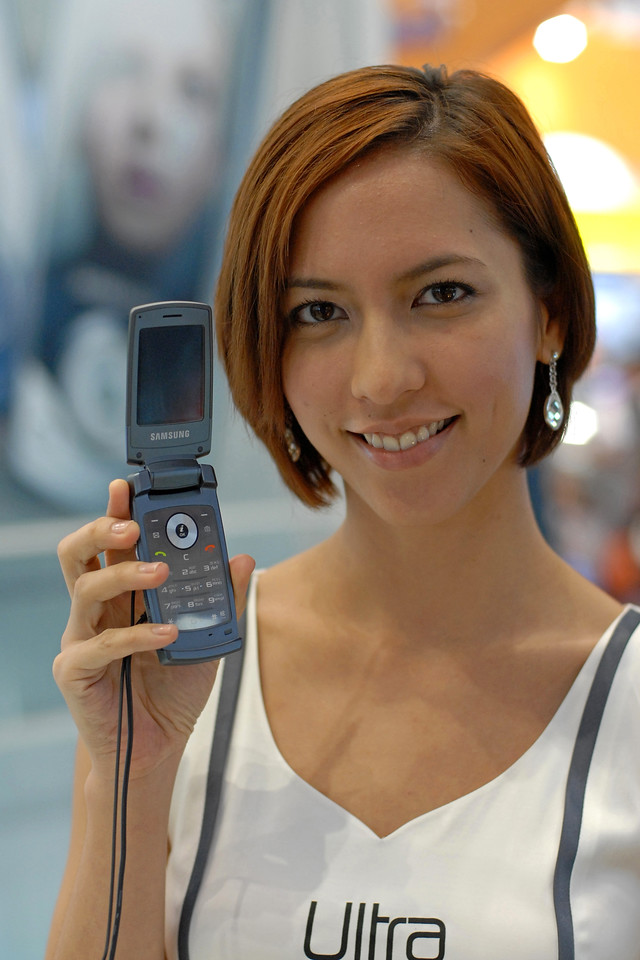 Samsung Ultra mobile phone at the CommunicAsia 2007, Singapore exhibition