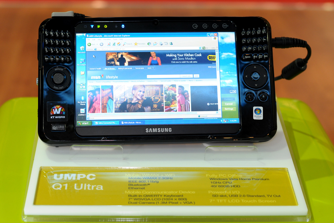 Samsung's UMPC Q1 Ultra mobile technology on display at CommunicAsia 2008 and BroadcastAsia 2008 held at Singapore Expo, Singapore.