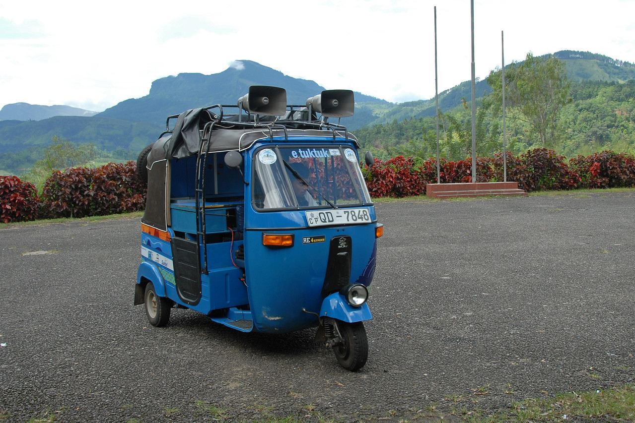 eTukTuk at the Kothmale Community Radio Centre in Sri Lanka. This modified autorickshaw or tuktuk is used to broadcast as well as record local village content and bring burning issues to the community radio.