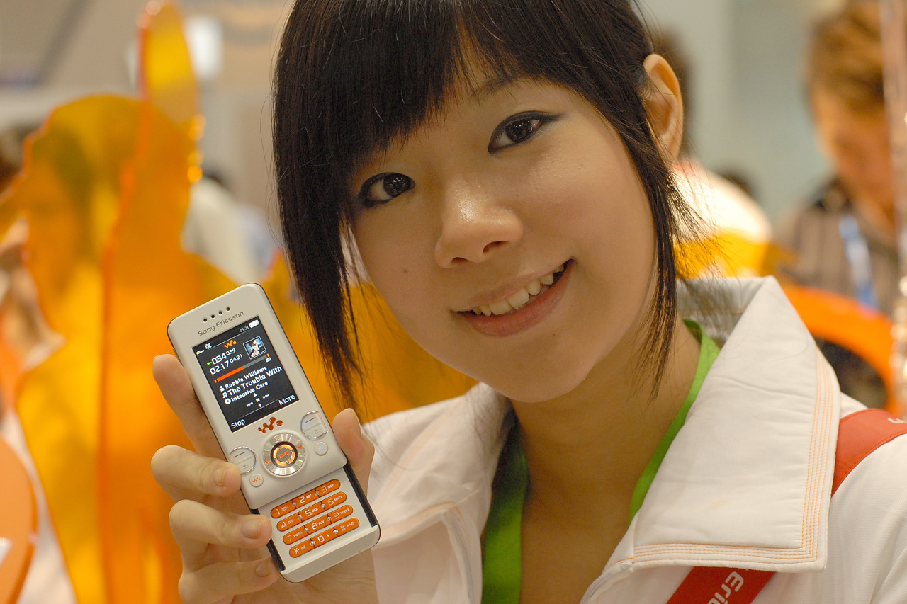 Sony Erricson's mobile phone at the CommunicAsia 2007 show