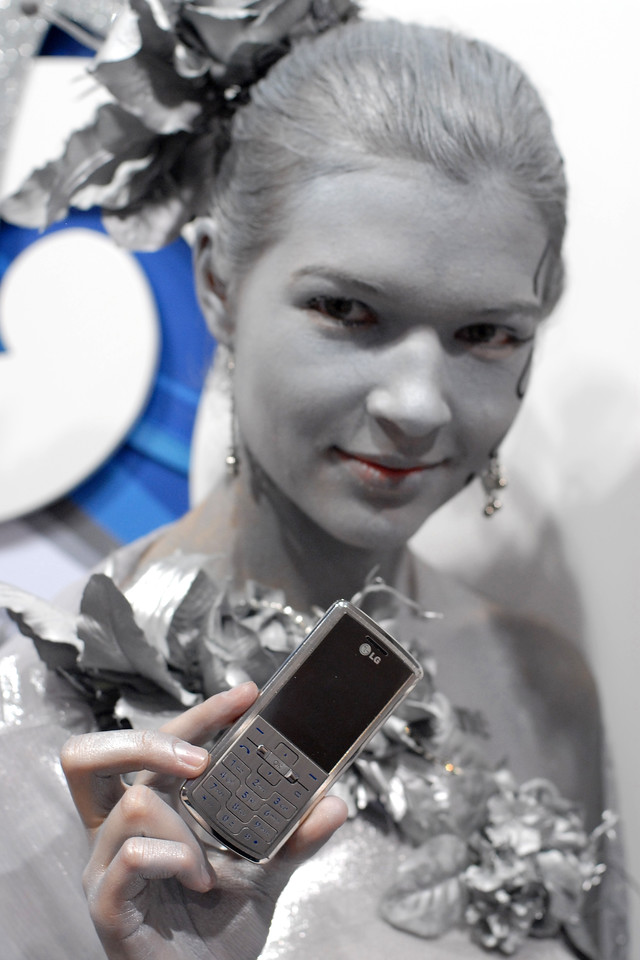 LG's shine show cased by a model at the CommunicAsia 2007, at Singapore Expo.