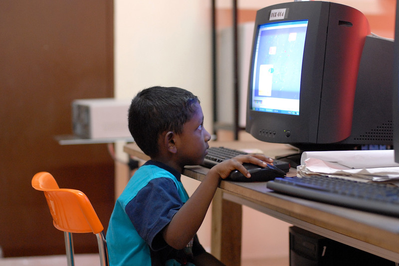 ICT training centre run by an NGO in Sri Lanka teaching computer skills.