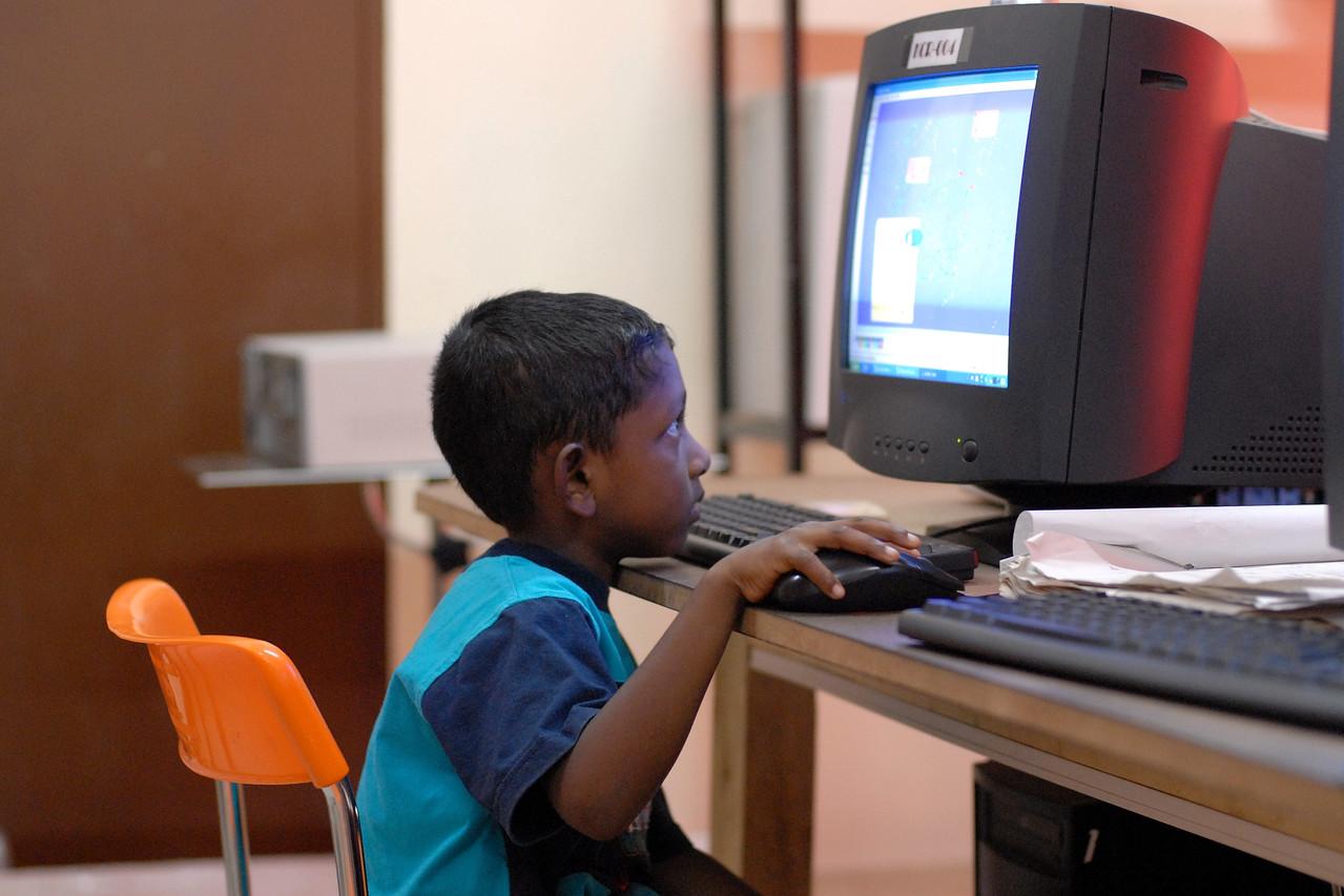 ICT training centre run by an NGO in Sri Lanka teaching computer skills.