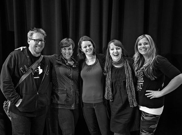 Jonathon Ryan, Leigh Statham, Amy Jameson, Jessica Day George, and Jennifer Jenkins are all smiles. Teen Author Bootcamp.