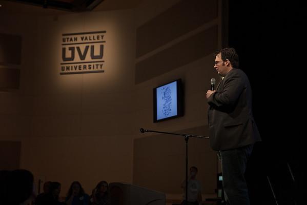 Brandon Sanderson gives the keynote address at Teen Author Bootcamp, Utah Valley University.