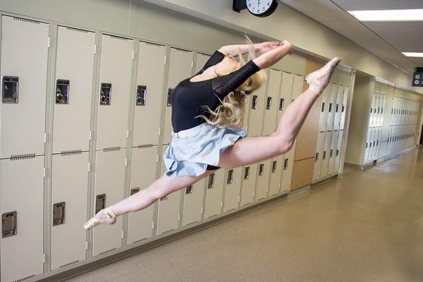 Dancer in Red Deer College Hallway
