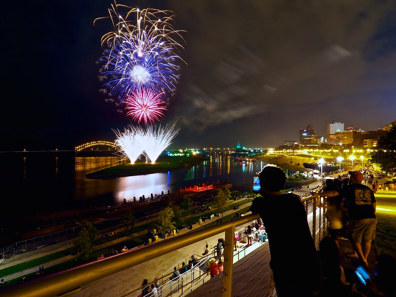 Fireworks over the Mississippi - Memphis, Tennessee