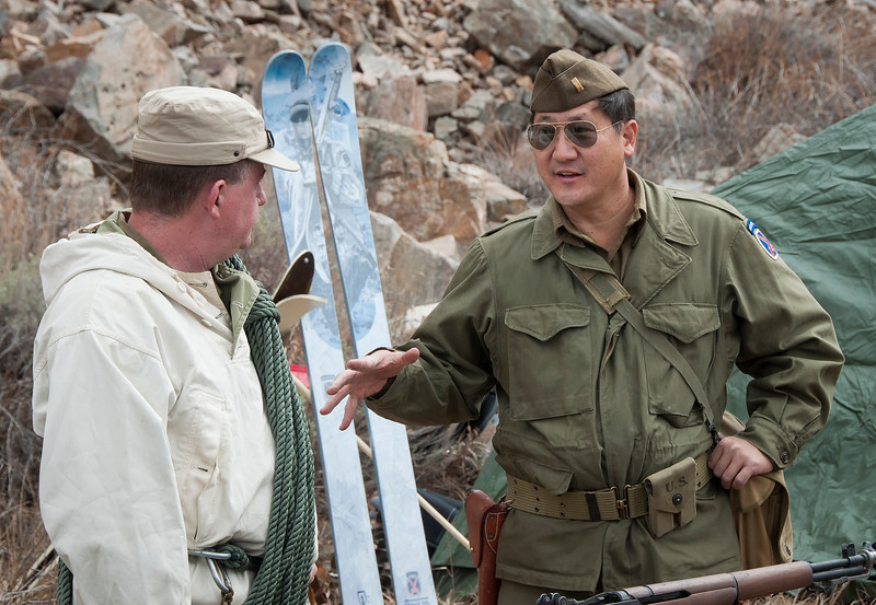 WWII era Tenth Mountain reenactors John Breeding (l) and Nathan Watanabe (r).