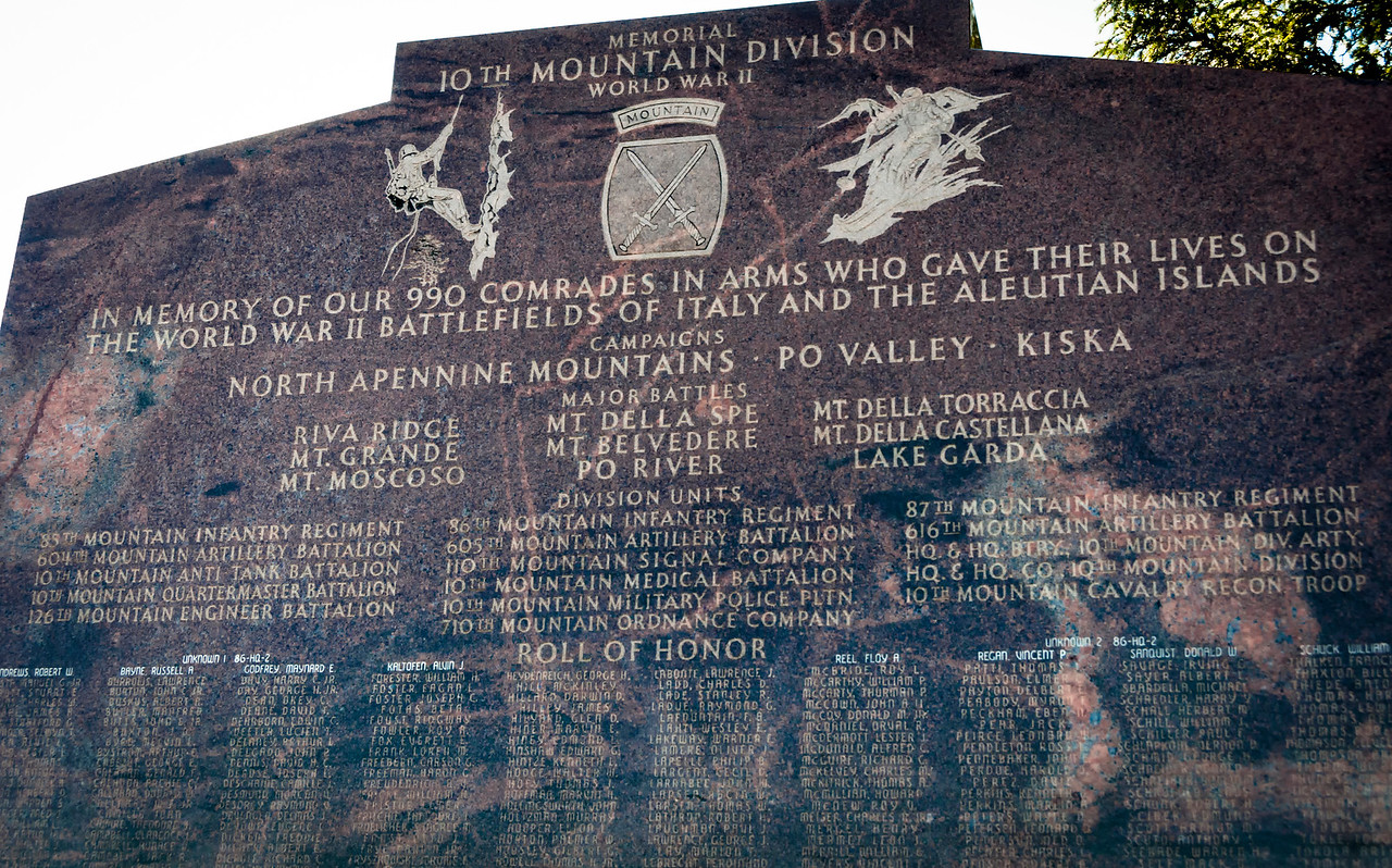 Tenth Mountain monument at the entrance to Ski Cooper ski area at 11,700 feet near Leadville. This was the original ski slope for the division.