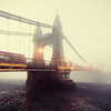 Hammersmith Bridge in Fog, Creamy Yellow