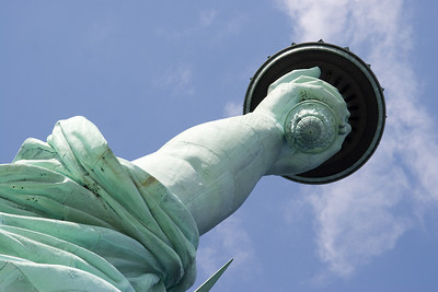 Detail of arm and torch -- Statue of Liberty (from observation deck)
