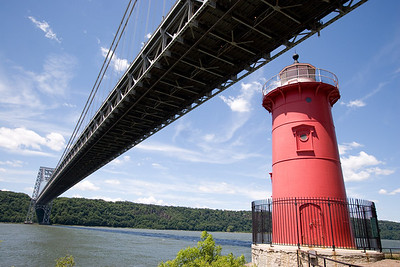 The Little Red Lighthouse and the Great Gray Bridge --George Washington Bridge, New York City, looking towards New Jersey
