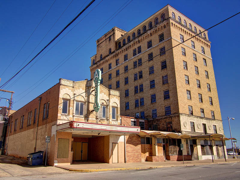 Arcadia Theater and a Tall Building - Temple, Texas