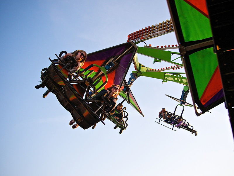 Enjoying Simulated Flight, Parking Lot Carnival - Round Rock, Texas