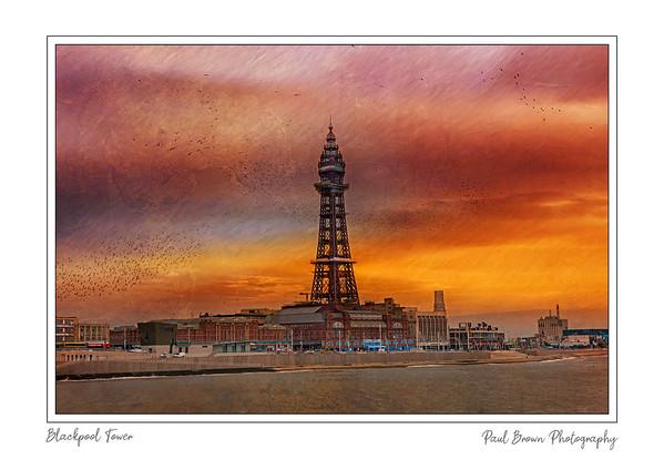 Blackpool Tower Warm framed A3
