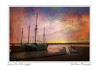 Boats at Pin Mill framed A3