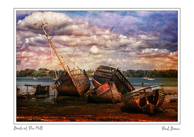 Derelict Boats at pin mill framed A3