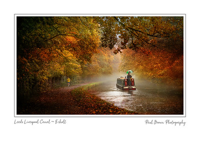 Canal Barge in Autumn framed A3