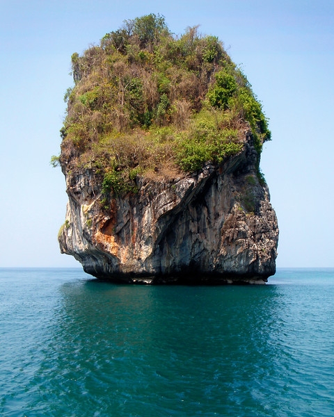 Floating Island - Thailand<br /> <br /> Huge limestone karst towers, eroded from the outside by the action of water and biological erosion, stand like giant teeth in the bays of southern Thailand. Each one is capped with a micro-jungle, nourishing itself from subterranean pools and aquifers that hold the rainwater.