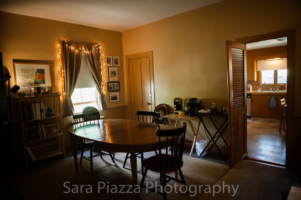 Dining room, where continental breakfast (homemade muffins, juice, and coffee) is served.