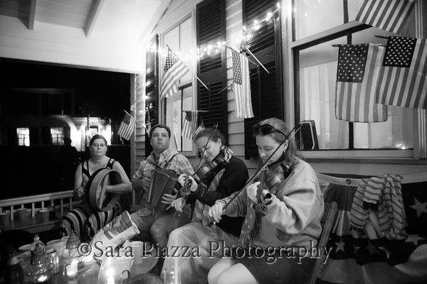 Sometimes we play music on the porch (our annual 4th of July Irish session).