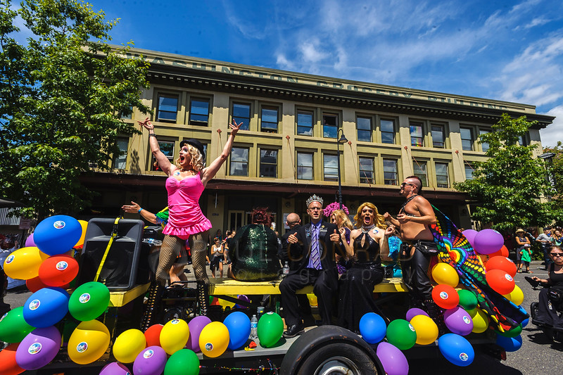 Kiona O'Piah dances on the Rumors Cabaret float during the 2016 Bellingham Pride Parade and Pride Festival in downtown on Sunday morning July 10, 2016, in Bellingham, Wash.