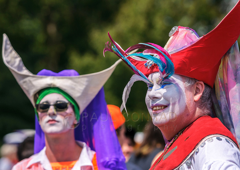 Daniel Ashwell, left, and Justice McCartney, both from Seattle, wait for the 2016 Bellingham Pride Parade to begin on Sunday morning July 10, 2016, in Bellingham, Wash. Ashwell is known as Sister Cialis de Lellis and McCarney is know as Sister Angela Merici. The two are members of the Sisters of Mother House in Seattle. (© Paul Conrad/The Bellingham Herald)