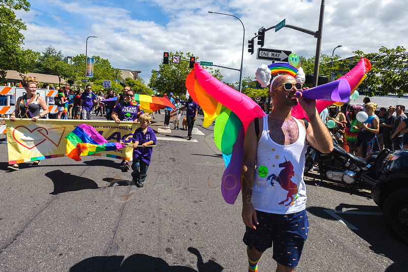 A man walks down Railroad Avenue during the 2016 Bellingham Pride Parade. (© Paul Conrad/The Bellingham Herald)