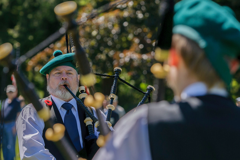 Bellingham Pipes Band member Peter Rolstad plays Amazing Grace during Memorial Day service at the Veteran's Memorial on Monday afternoon May 30, 2016, at Bayview Cemetery in Bellingham, Wash. (© Paul Conrad/The Bellingham Herald)