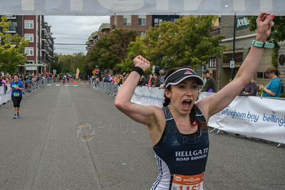 2017 Bellingham Bay Marathon - Rebecca Carrasco Celebrates