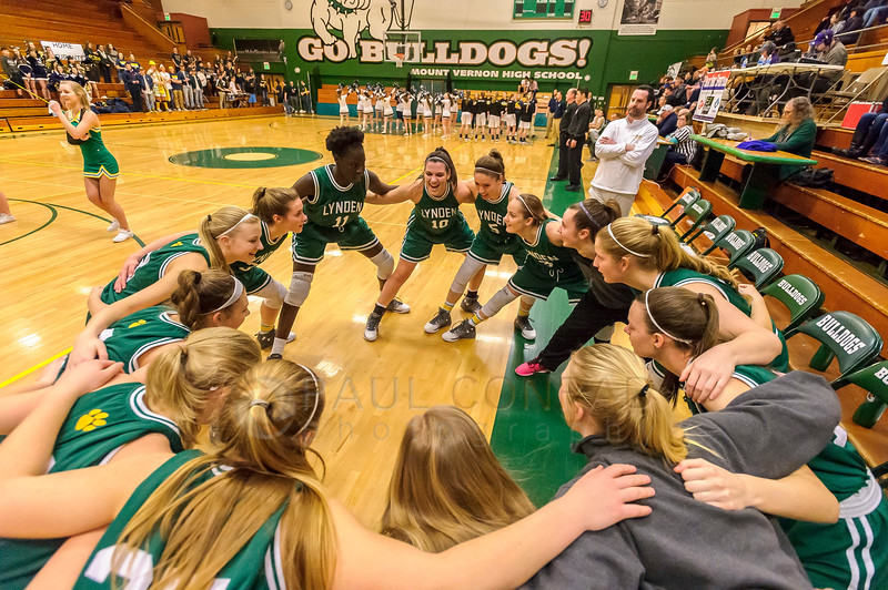 Burlington-Edison def. Lynden 54 to 50 - The Lynden Lions girls get ready to play against the Burlington-Edison Tigers in the Class 2A Northwest District Championship varsity girls semi-final game on Monday evening Feb. 13, 2017, at Mount Vernon High School in Mount Vernon, Wash. Burlington-Edison won 54 to 50 to advance to the finals. (© Paul Conrad/The Bellingham Herald)