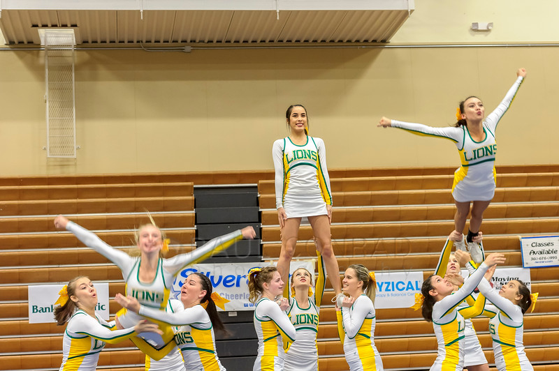 Dropping In - The Lynden High School cheerleading squad performs during the 2016 Cheerfest hosted by the Norhtwest SilverStars on Saturday afternoon Nov. 5, 2016, at Meridian High School in Laurel, Wash. (© Paul Conrad/The Bellingham Herald)
