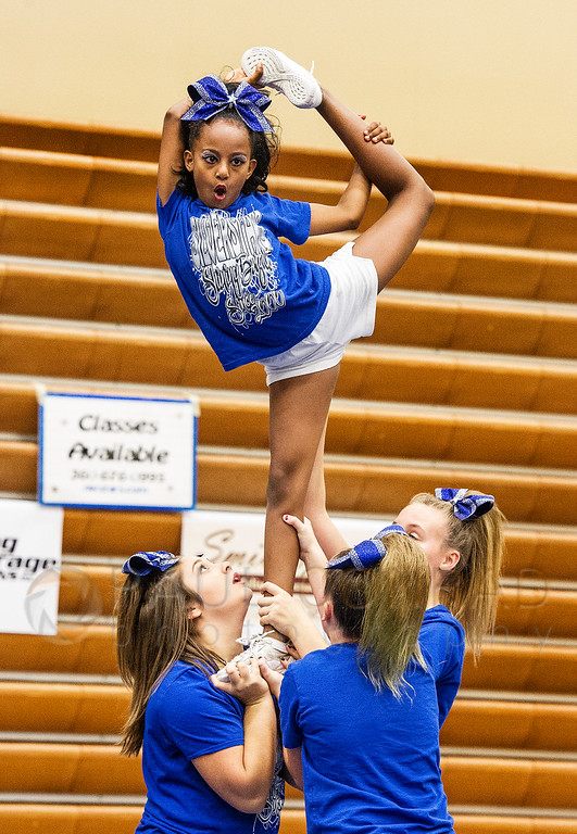 Top of the World! - The Northwest Silverstars Pixies perform during the 2016 Cheerfest hosted by the Northwest SilverStars on Saturday afternoon Nov. 5, 2016, at Meridian High School in Laurel, Wash. (© Paul Conrad/The Bellingham Herald)