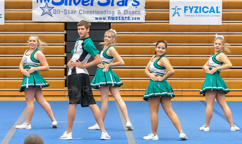 Not Just for Girls - Members of the Mt. Vernon High School cheerleading squad perform during the 2016 Cheerfest hosted by the Northwest SilverStars on Saturday afternoon Nov. 5, 2016, at Meridian High School in Laurel, Wash. (© Paul Conrad/The Bellingham Herald)