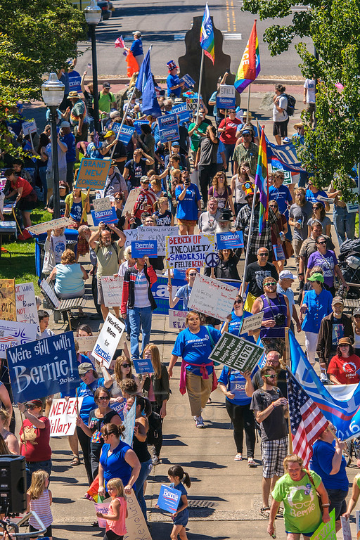 About 200 marchers reach Maritime Heritage park during the March for Bernie Rally in downtown Bellingham, Wash. (© Paul Conrad/The Bellingham Herald)