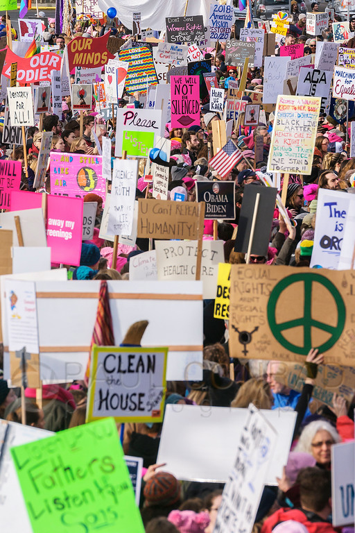 Sea of Signs - Thousands of marchers pack in front of Bellingham City Hall in preparation for the Women's March on Bellingham. (© Paul Conrad/The Bellingham Herald)