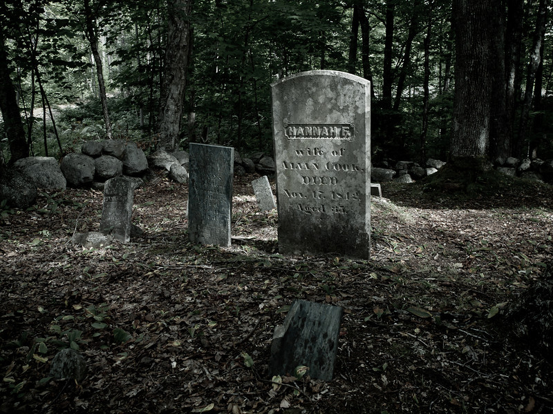 Haunting the Obscure<br /> Cook cemetery, newly re-discovered in Campton, NH.<br /> <br /> Why it's in the best of 2010 - this shot is a testament to my skill as a photographer.  I'm amazed I got it.  About a dozen non-photographers were milling around exploring this tiny family burial ground and so when I noticed how a break in the canopy lit up Hannah's stone, I had only a few seconds in which to compose, set exposure and shoot.  Just after I did some people got into the frame and then the light changed and Hannah was no longer spotlit.  When I got this image in Lightroom it was almost perfect out of the camera, but I thought a desaturated look with a slight vignette would really bring out the spooky, which it really did.  I'm very proud of this shot.