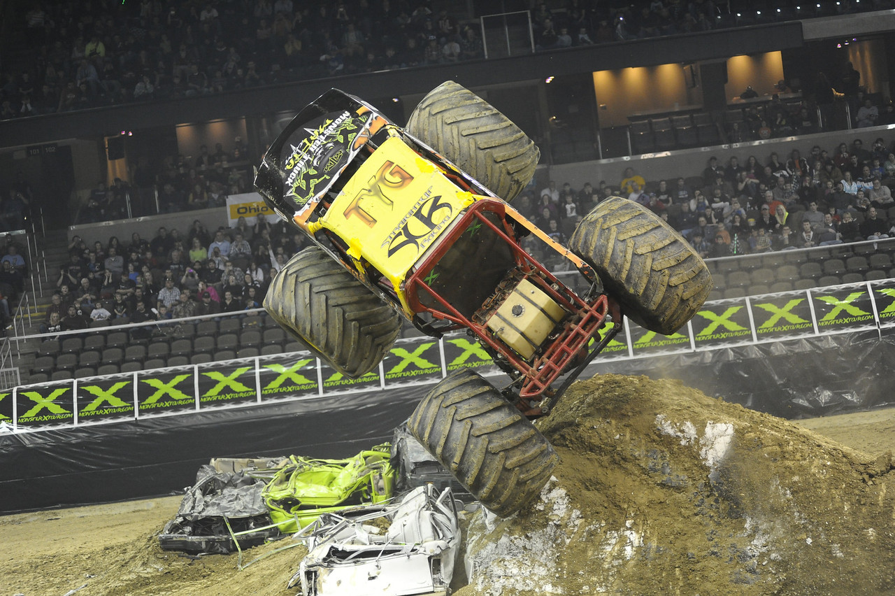 Rock Star with driver Bill Payne and Team Straight Up Racing flips during the Monster X Tour at The Bank of Kentucky Center in Highland Heights, Kentucky.