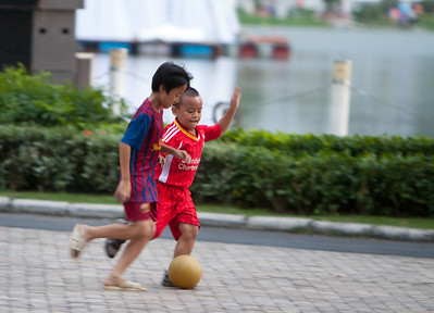 Future champions get in some practice on the street.
