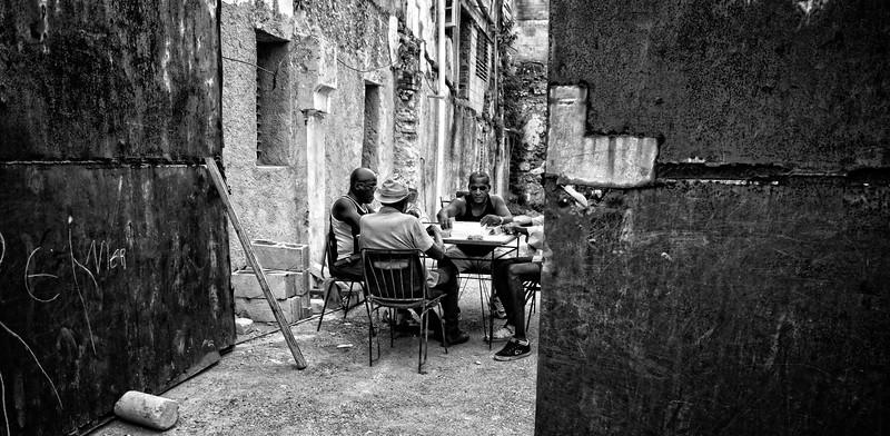 Havana Street Dominos B&W